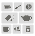 monochrome icons with accessories for tea vector image