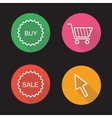 Online shop flat linear icons set vector image