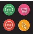 Online shop flat linear icons set vector image
