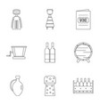 wine company icon set outline style vector image