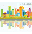 Seoul Skyline with Color Buildings vector image