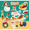 Christmas and New Year winter holidays sticker set vector image vector image