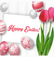 easter background with colored eggs vector image