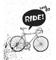 bicycle poster bw vector image vector image