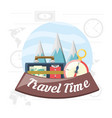 bag and compass with snowy mountains cloudy vector image