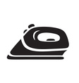 black steam iron icon on white background vector image