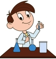 Boy in chemistry class vector image