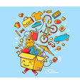 colorful joy character shopping box with vector image