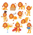 lion mascot pose happy cartoon cute wild vector image