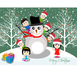Merry christmas with happy kids and snowman vector image