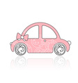 Pink female car with floral ornament vector image