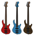 Electric fretless bass guitars vector image
