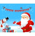 Santa Claus and Snowman vector image