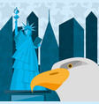 cute statue of liberty with eagle in new york city vector image