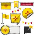 Glossy icons with New Mexican flag vector image