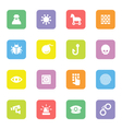 colorful flat icon set 7 on rounded rectangle vector image