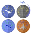 Set of Airplane Icons Travelling by Plane vector image