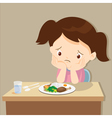 girl bored with food vector image