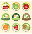 GMO Free Non GMO and organic guarantee tag label vector image