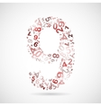 number nine from numbers vector image