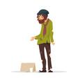 poor man in torn clothes begging money vector image