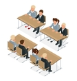 School lesson Little students Isometric vector image