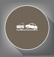 tow truck sign  white icon on brown circle vector image