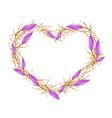 Violet Equiphyllum Flowers in Heart Shape Frame vector image