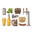 Beer set with tap class can bottle barrel vector image
