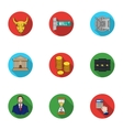 Money and finance set icons in flat style Big vector image
