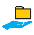 Hand and folder icon vector image