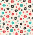 Seamless Retro Flat Design Flowers Background vector image
