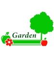 garden background with tree flower green grass vector image