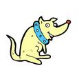 comic cartoon happy dog in big collar vector image