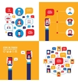 Hand holding smartphone Social Network Technology vector image vector image
