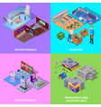 Shopping Mall 2x2 Icons Set vector image