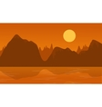 flat of cliff and lake landscape vector image