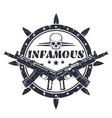 infamous round t-shirt print emblem vector image