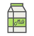 milk filled outline icon food and drink dairy vector image