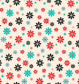 Seamless Retro Flat Design Flowers Background vector image
