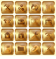 Set of Golden Square Buttons vector image