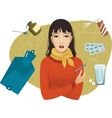 Ill young woman complaints about cold vector image vector image