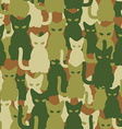 Military texture of cats Army seamless pattern vector image