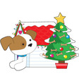 christmas dog house vector image vector image