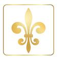 Golden fleur-de-lis heraldic emblem foil 1 vector image