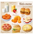 Kids menu Set of cartoon food icons vector image