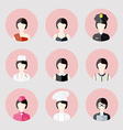 Colorful Female profession App Icons Set in Trendy vector image