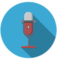 Flat design microphone icon with long shadow vector image