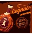 Glassware bottle of cognac vintage poster vector image