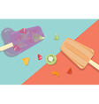 Homemade fruit popsicles with vintage background vector image